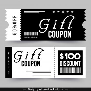 gift coupon template elegant black white decor