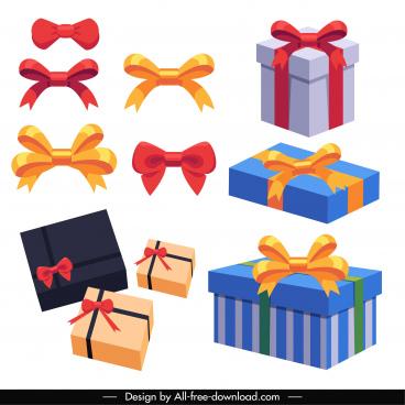gift decor elements bow box sketch 3d design