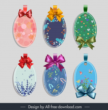 gift label templates shiny colorful elegant knot decor