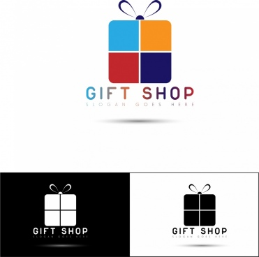 gift shop logotypes flat present box ornament