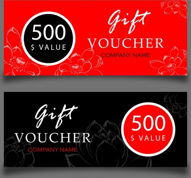 gift voucher sets black red vignette flowers ornament