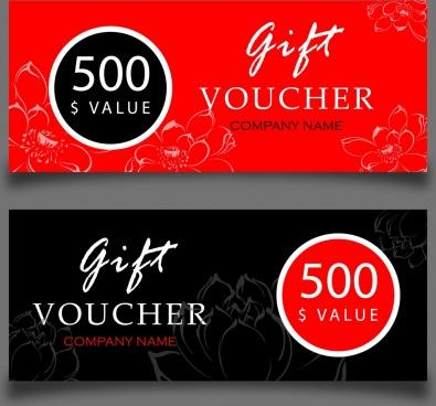 gift voucher sets black red vignette flowers ornament