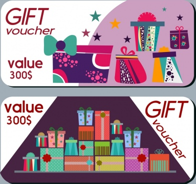 gift voucher sets colorful present boxes ornament