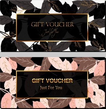 gift voucher template classical leaves icons decor