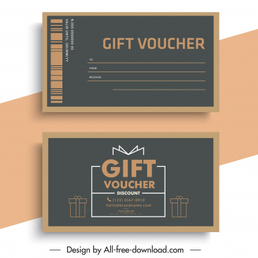 gift voucher template flat simple classic sketch