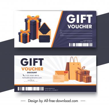gift voucher template modern elegant present boxes sketch