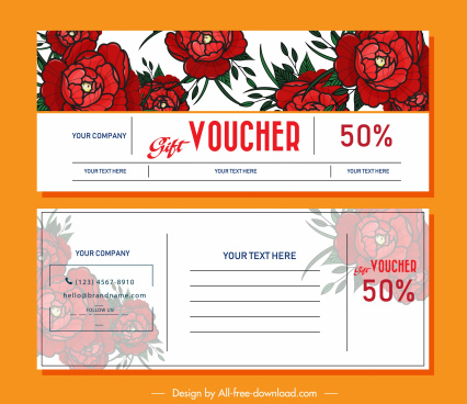 gift voucher template red rose decor blurred design