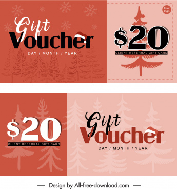 gift voucher templates blurred classic christmas elements decor