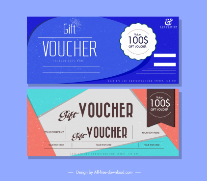 gift voucher templates bright colored plain flat decor