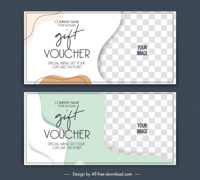 gift voucher templates classic checkered curves decor