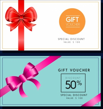 gift voucher templates colored ribbon decoration