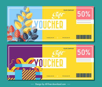 gift voucher templates colorful leaves present decor