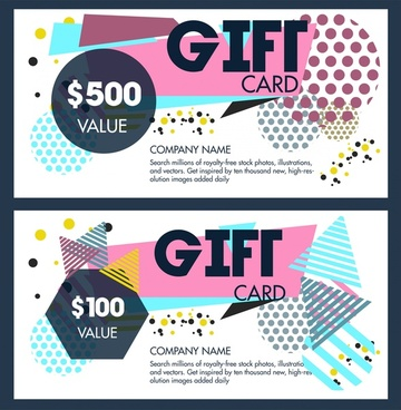 gift voucher templates design with abstract geometric style