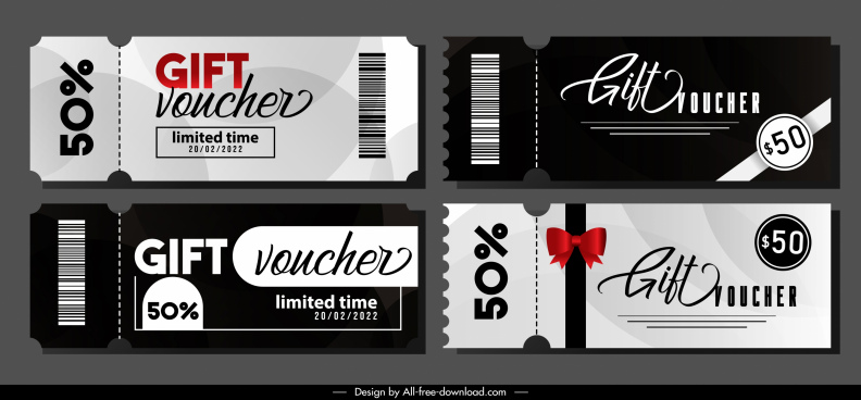 gift voucher templates elegant black white decor