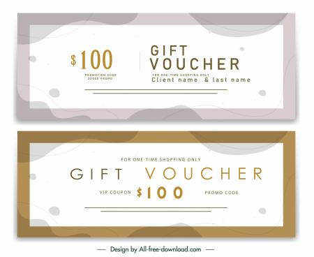gift voucher templates elegant classic horizontal shape