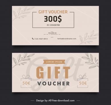 gift voucher templates elegant classical handdrawn leaves decor