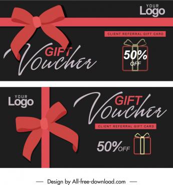 gift voucher templates elegant dark knot decor