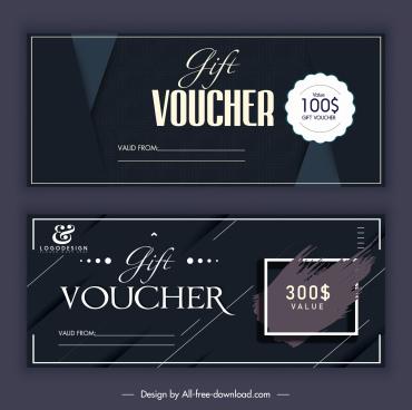 gift voucher templates elegant dark modern decor