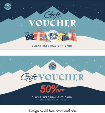 gift voucher templates flat classical decor