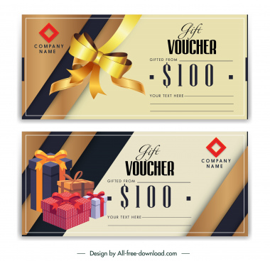 gift voucher templates luxury 3d ribbon present box