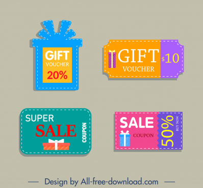 gift voucher templates modern colorful flat shapes sketch