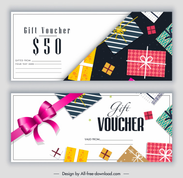 gift voucher templates modern colorful presents knot decor