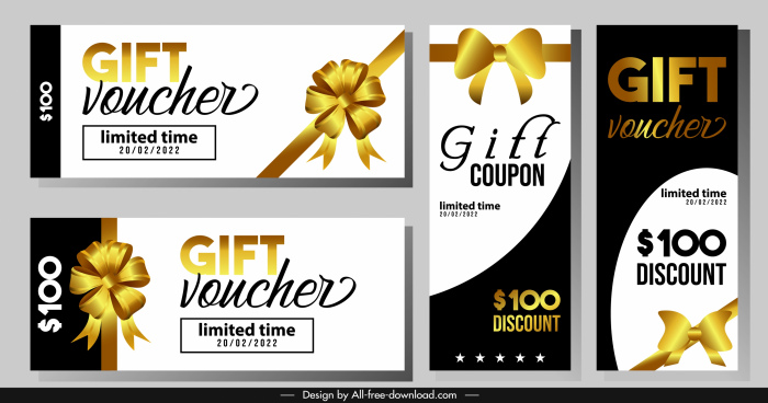 gift voucher templates modern luxury golden knot decor