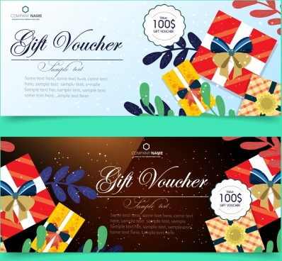 gift voucher templates present box icons calligraphic decoration