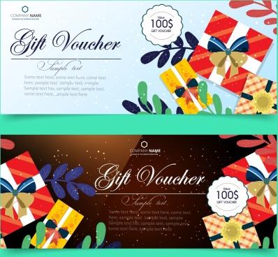 gift voucher templates present box icons calligraphic decoration