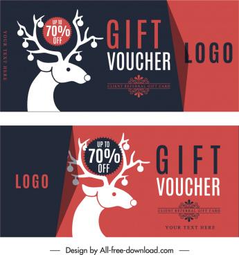 gift voucher templates reindeer sketch dark flat classic