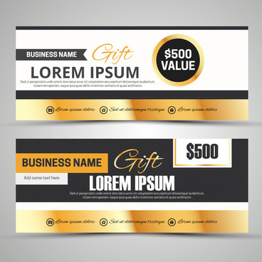 gift voucher templates with black yellow white colors