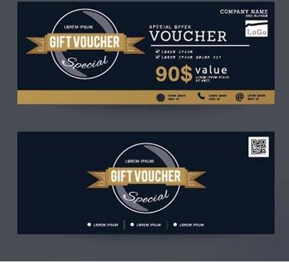 gift voucher vintage vectors