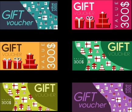 gift vouchers collection colorful flat design
