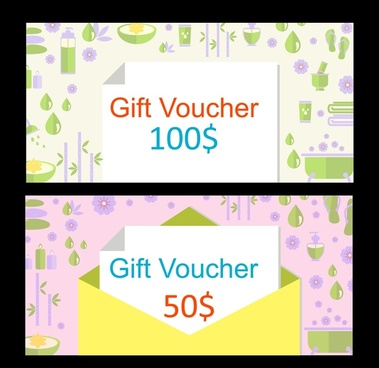 gift vouchers design with herbal symbols background