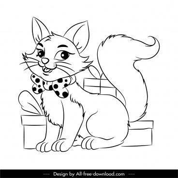gifts cat icon black white handdrawn cartoon sketch