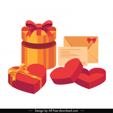 gifts design elements colored 3d sketch