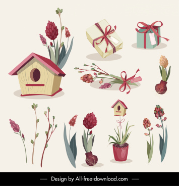 gifts icons flowers decor elegant classical sketch