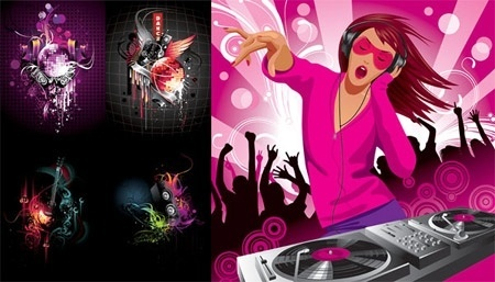 dj and discotheques design elements colorful style