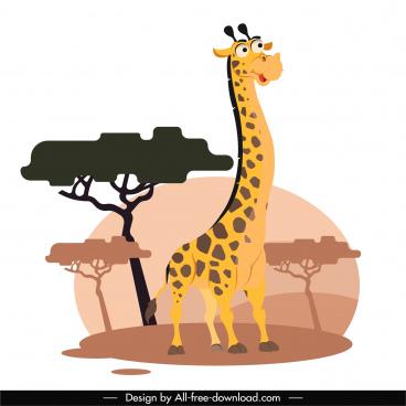giraffe animal painting funny cartoon design