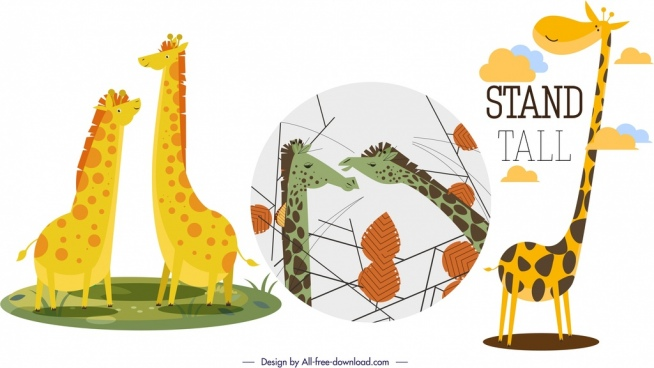 giraffe background sets funny cartoon characters
