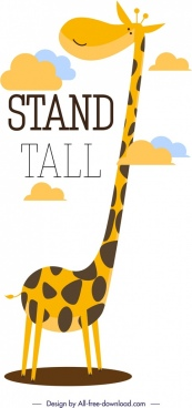 giraffe banner cute cartoon design
