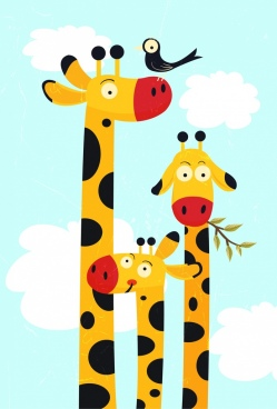 giraffe family drawing high neck closeup multicolored cartoon