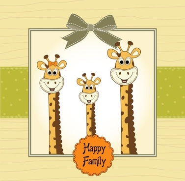 giraffe greeting card 01 vector