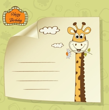giraffe greeting card 04 vector