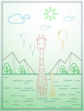 giraffe icons outline nature scenery design
