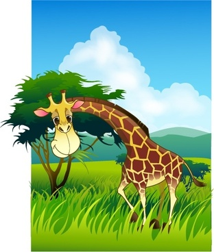 animal painting giraffe meadow icons colored cartoon