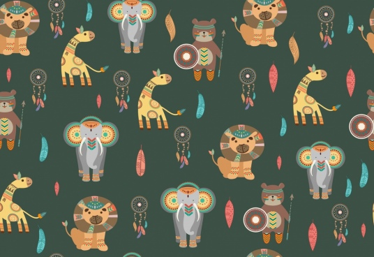 giraffes bears elephants lions pattern tribal repeating design