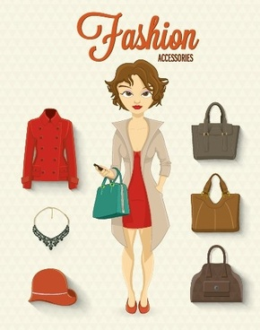 girl and fashion elements vectors