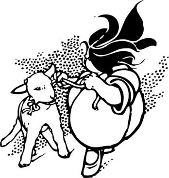 Girl And Lamb clip art