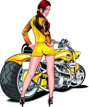 girl and motorbike vector illustration set